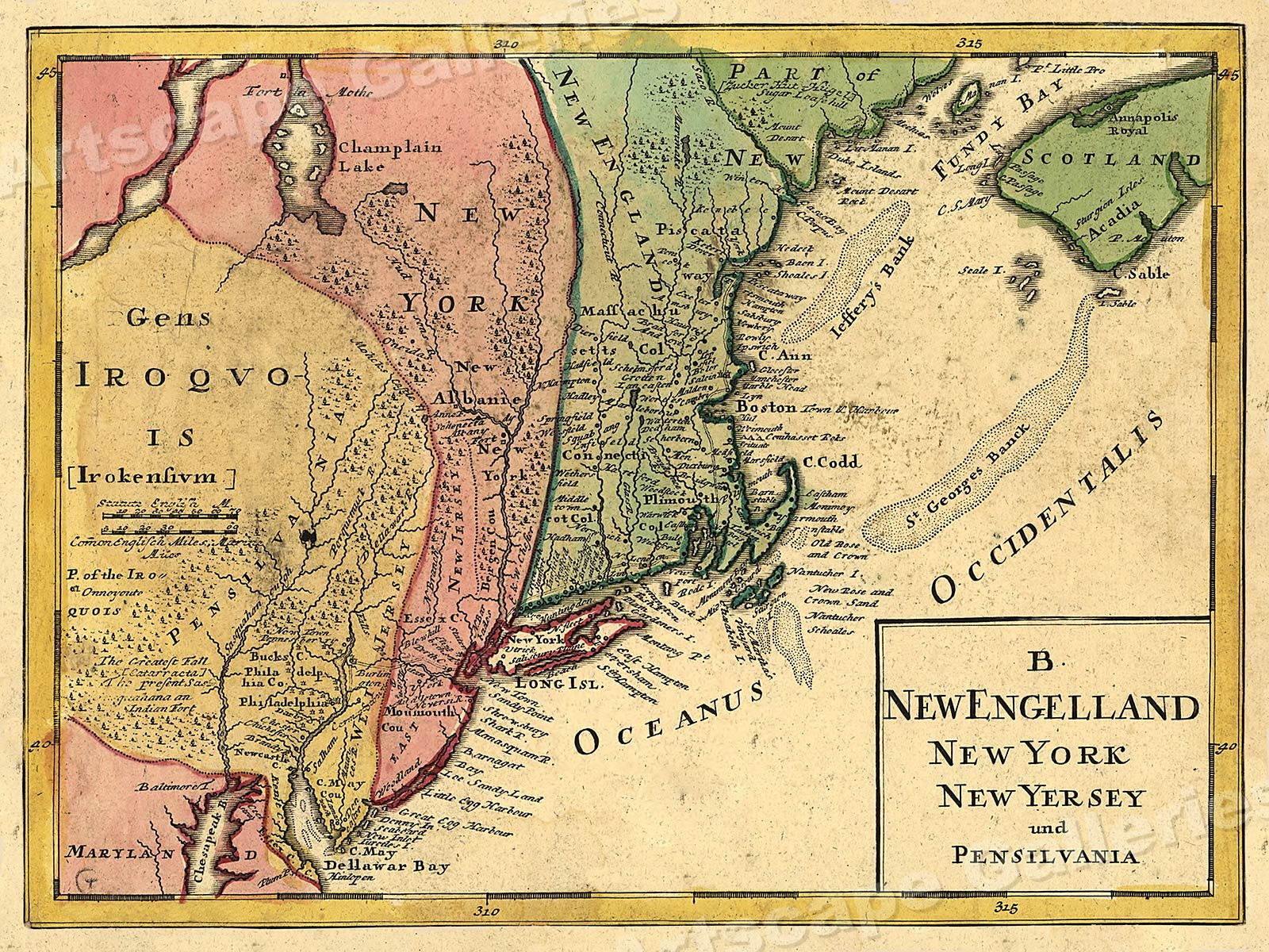 New England New York Early East Coast Map