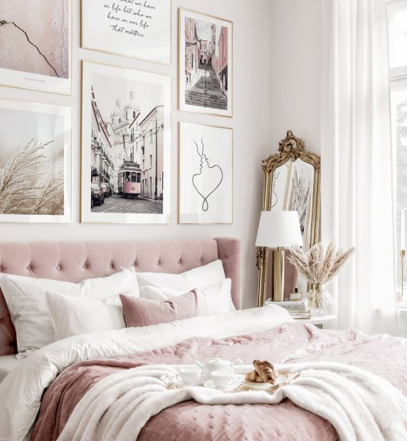 Elegant gallery wall typography posters cities pink interior golden frames