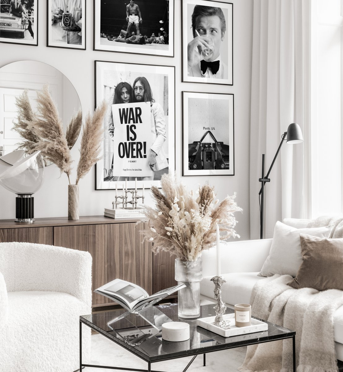 Black White Gallery Wall Iconic Vintage Posters Black Metal Frames Gallery Wall Inspiration Posterstore Eu