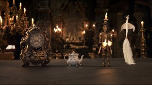 Cogsworth, Mrs Potts, Lumiere and Plumette