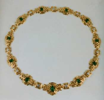 Celtic emerald and diamond 18K, open knot-work choker, designed and hand made by, George Postgate