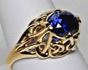 Celtic Nouveau Ceylon Sapphire ring in 18K by George Postgate