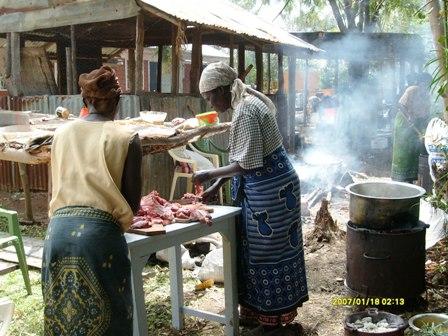 Women busy preparing food