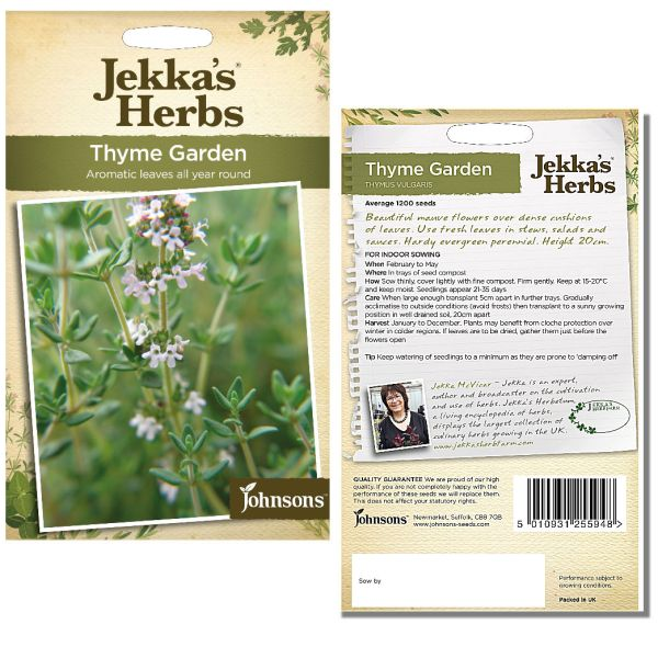 Jekka's Herbs - Thyme Common Garden Seeds by Johnsons