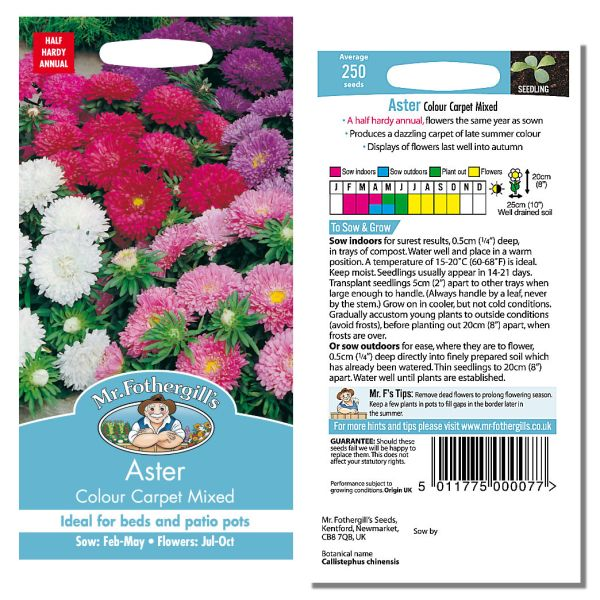 Mr. Fothergill's Seeds - Aster Colour Carpet Mixed
