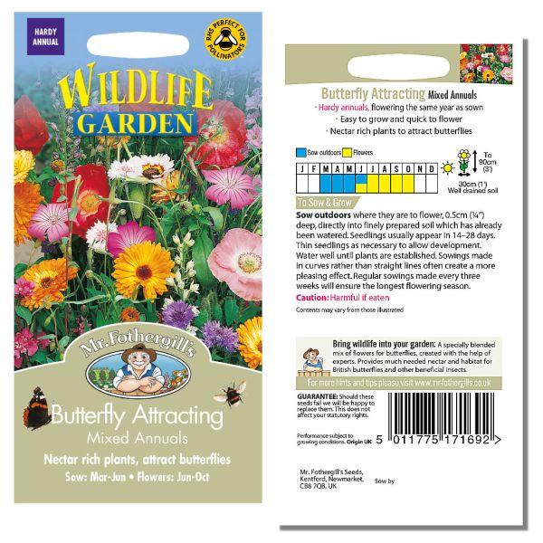 Mr. Fothergill's Seeds - Wildlife Garden - Butterfly Attracting Mixed Annuals