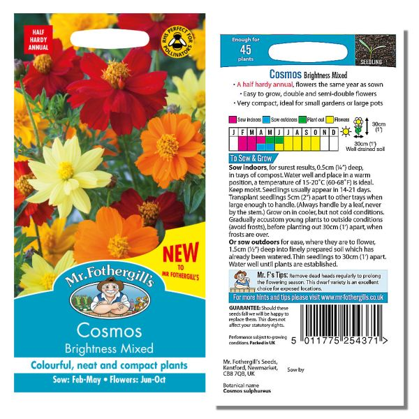 Mr. Fothergill's Seeds - Cosmos Brightness Mixed
