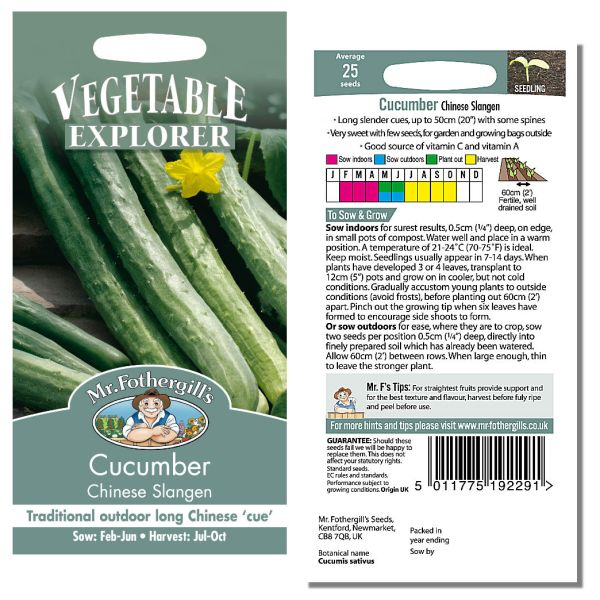 Mr. Fothergill's Seeds - Cucumber Chinese Slangen