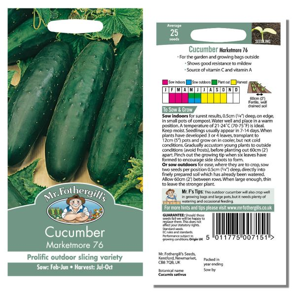 Mr. Fothergill's Seeds - Cucumber Marketmore 76