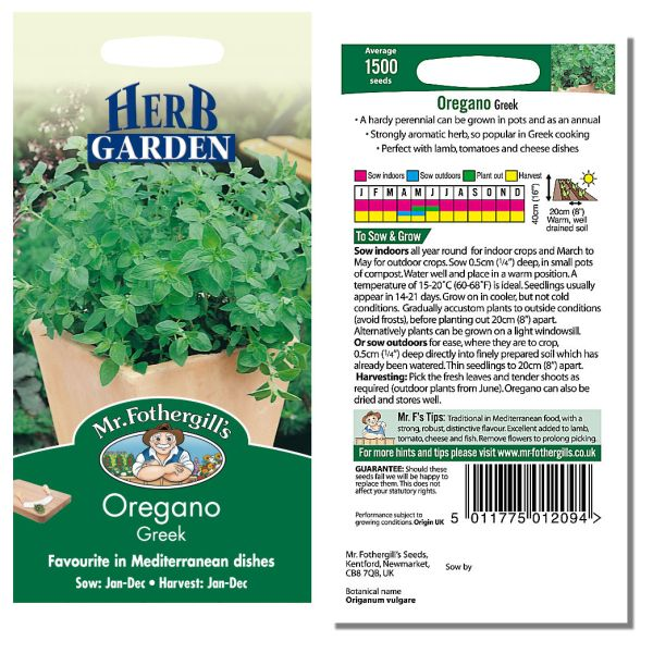 Mr. Fothergill's Seeds - Herb Garden - Oregano Greek