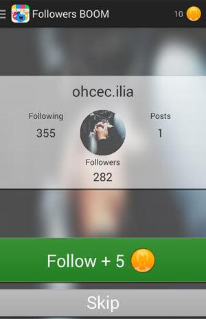 Ứng dụng cho những người theo dõi gian lận trong những người theo dõi Instagram Boom