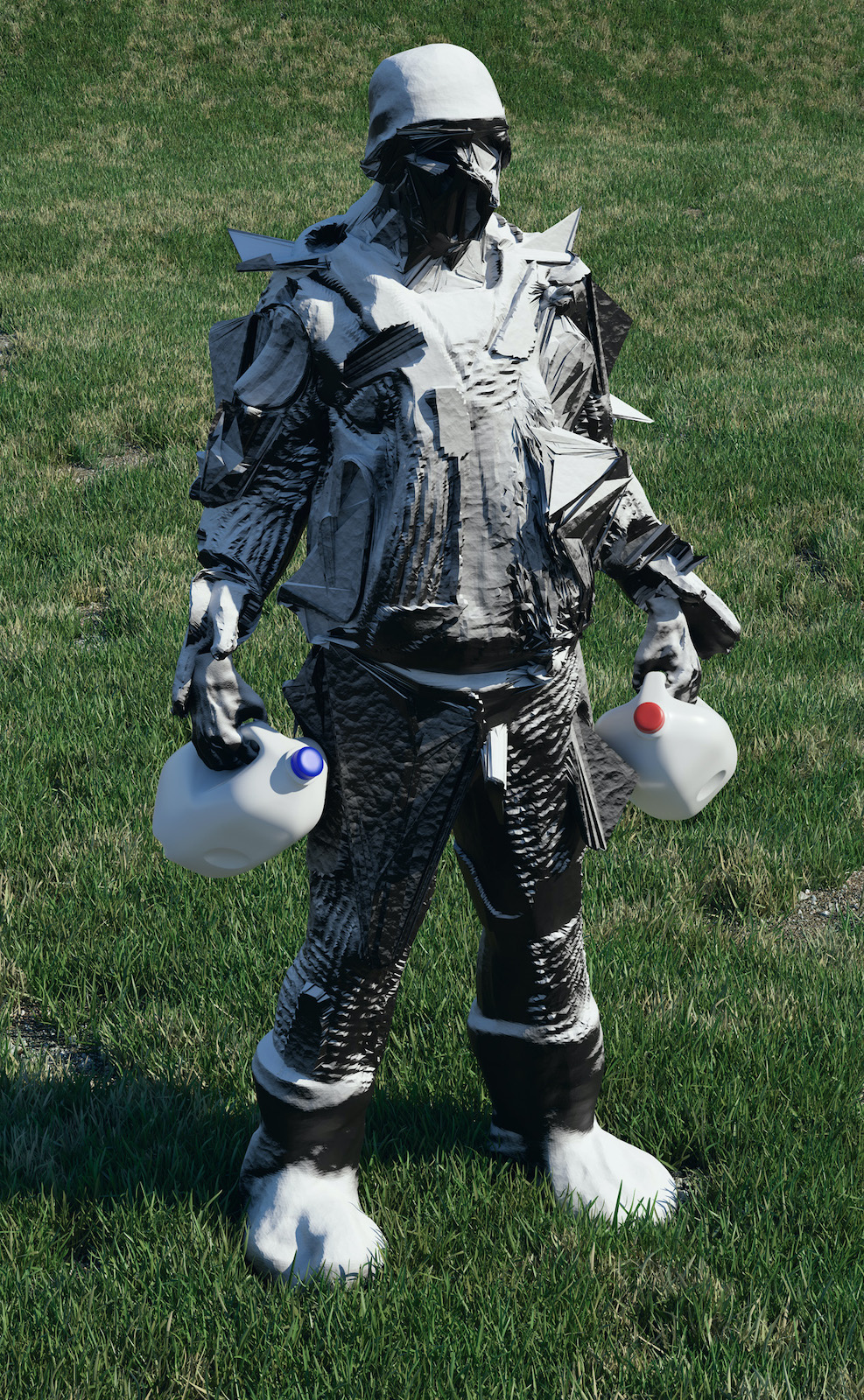 Person standing in a grass field wearing a protective suit holding two jugs of milk