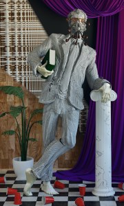 Silver man with sunglasses and pipes coming out of his mouth and ears holding a book and leaning on a marble column. A purple curtain is drawn in the background and a potted plant and discarded red solo cups sit on the checkered floor.