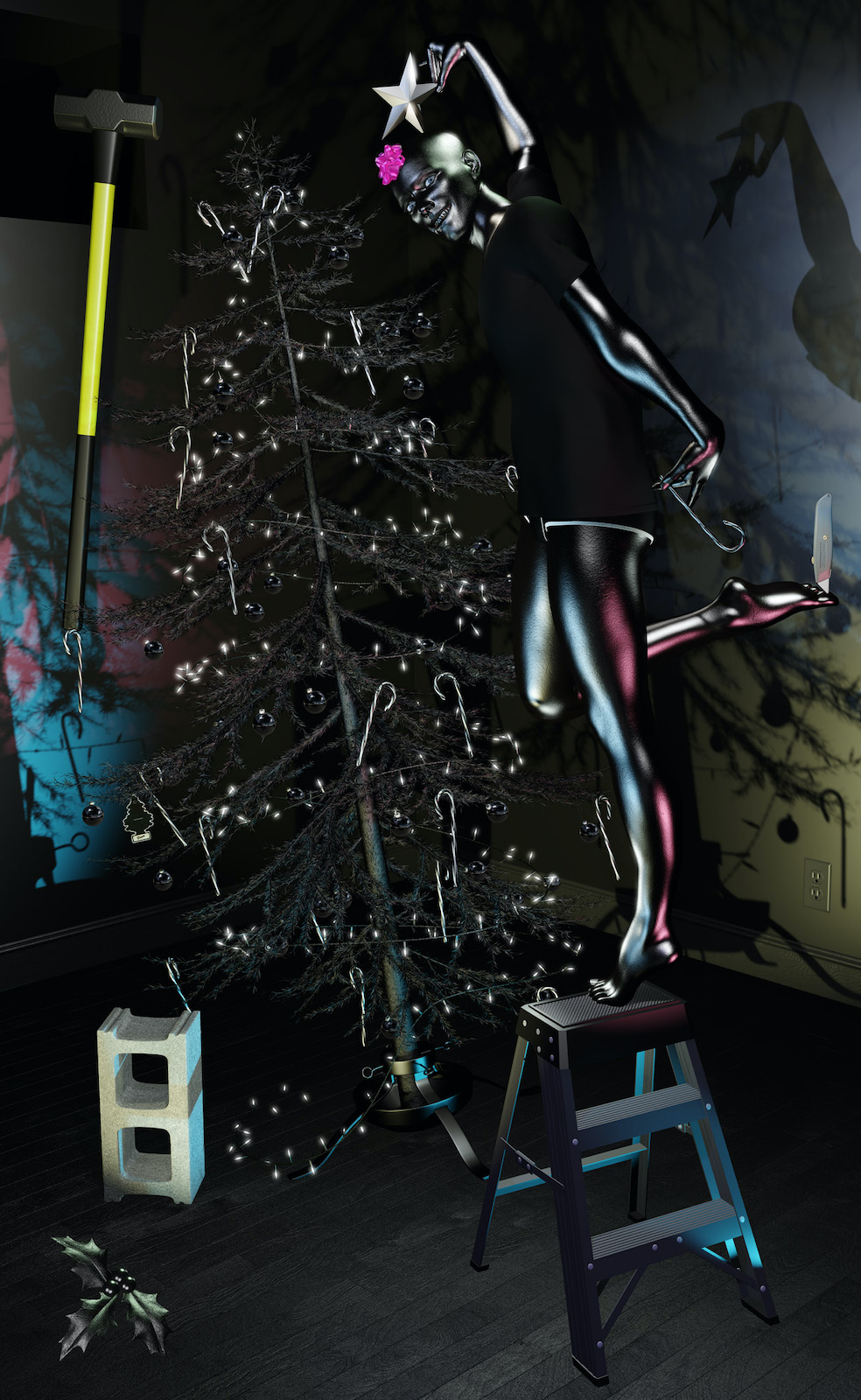 Person in a dark room standing on a ladder decorating a black Christmas tree.