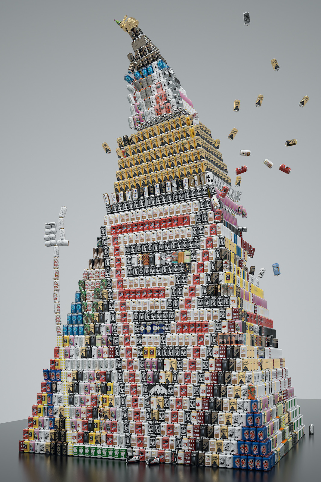 Falling tower made of different beers