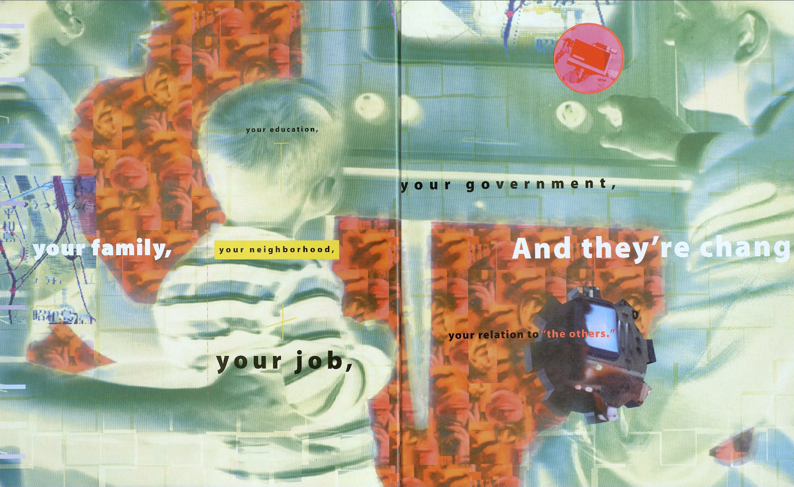 An inverted color image of a mother, father, and child watching a television, with words overlaid.