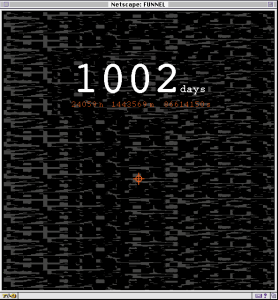 """An image of a mid 1990's computer display with """"1002 days"""" written across the screen in white over a black and grey pixilated background."""
