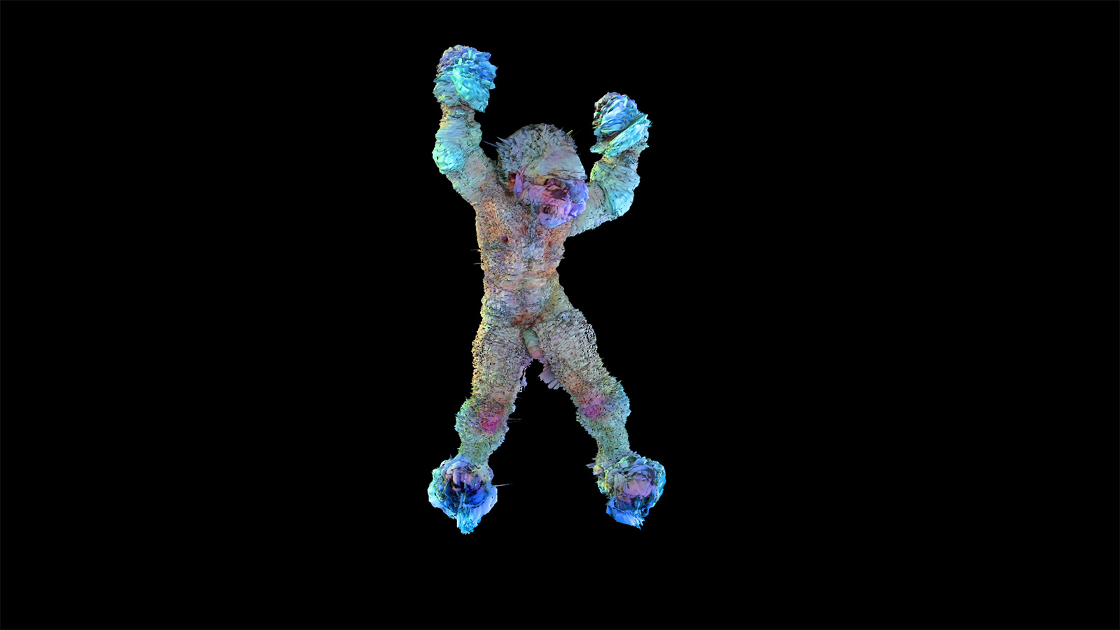 A brightly colored figure dances in a black void.