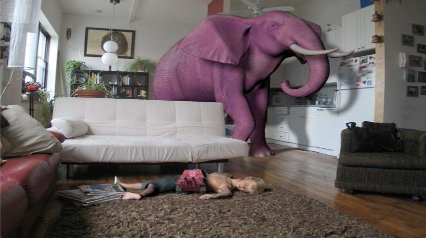 An animated pink elephant walks through an animated living space.