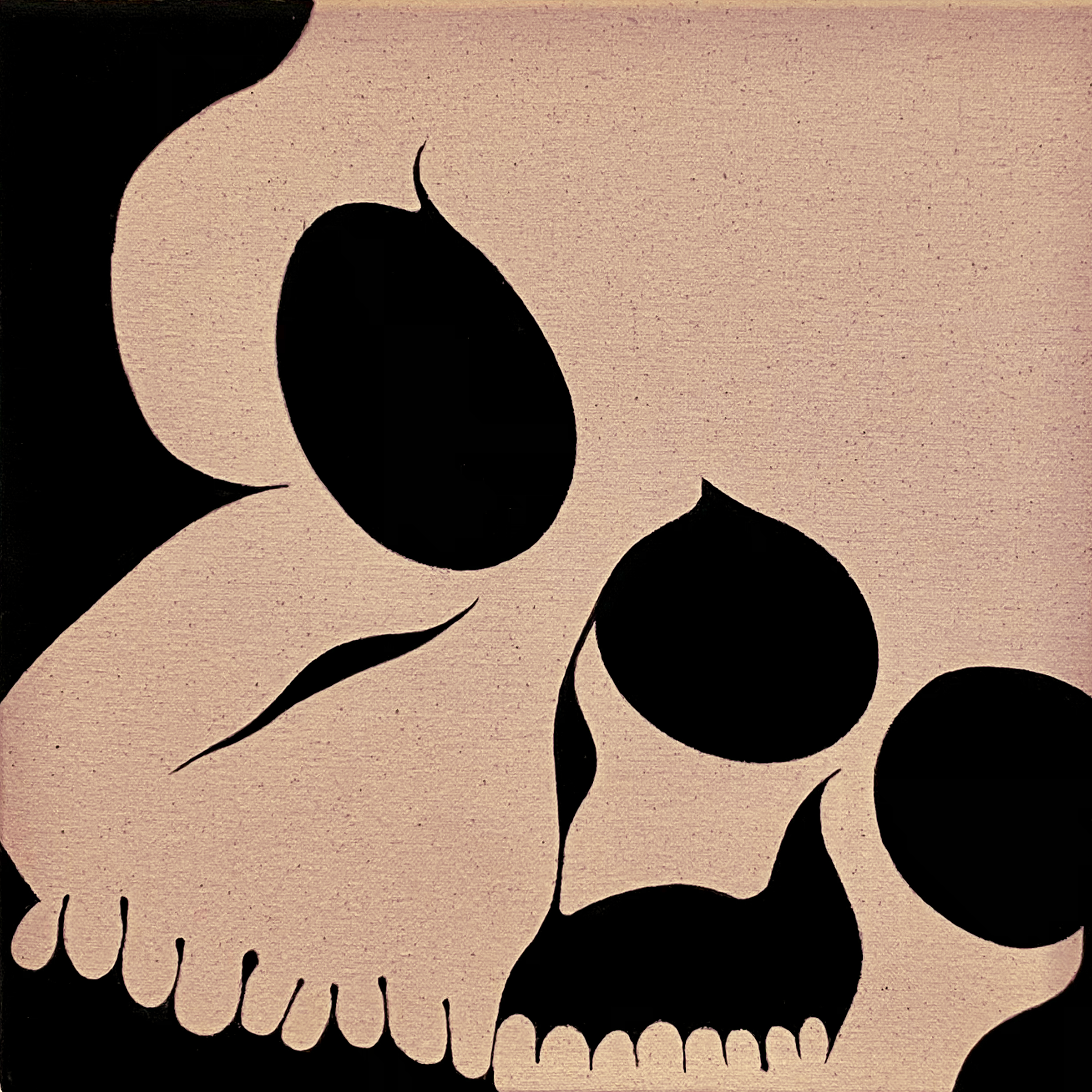 A beige and black graphic of an abstracted skull.