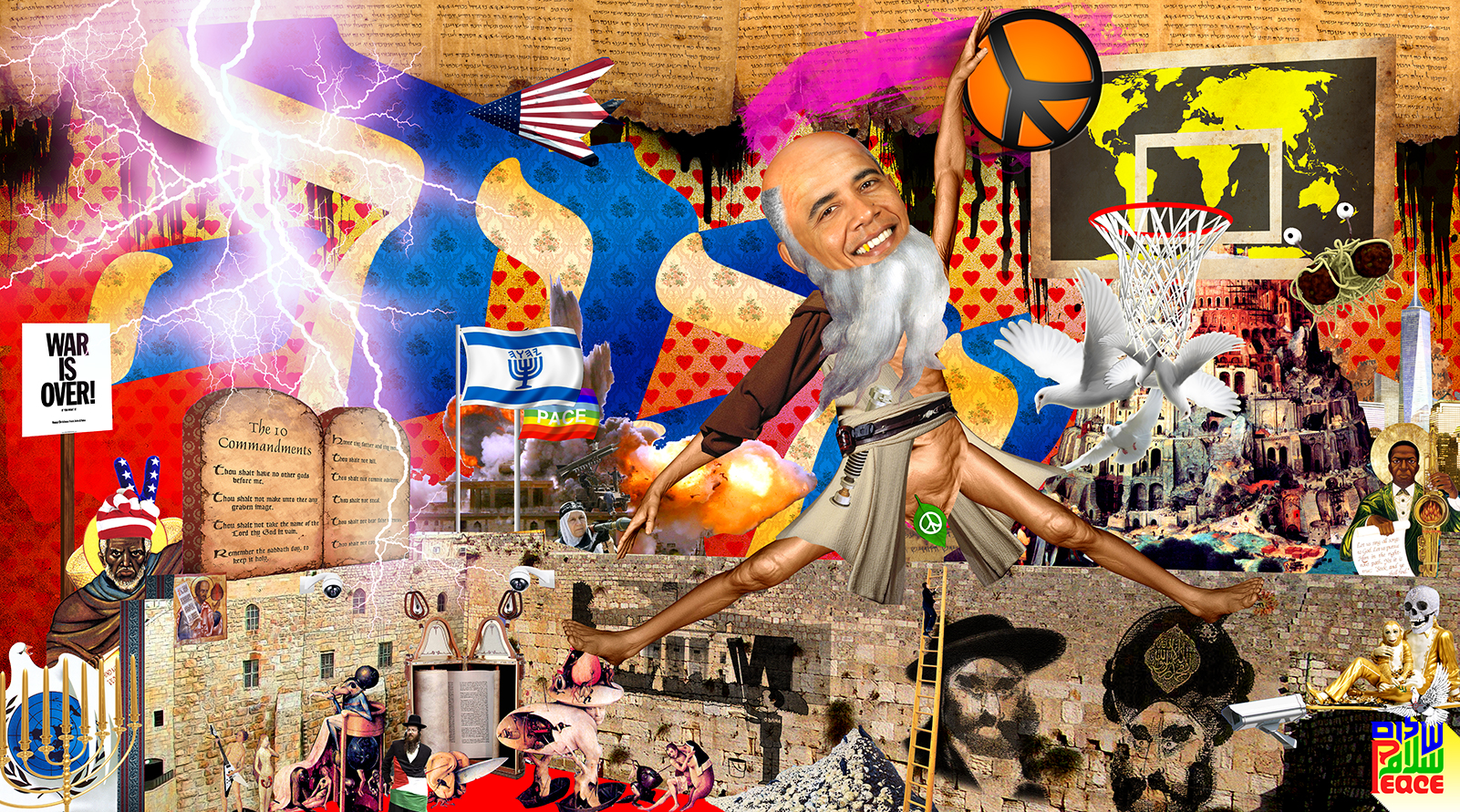A political collage including an image of Barak Obama as Abraham wearing the Obi-Wan Kenobi costume from Star Wars with the beard from Michelangelo's Creation of the Sun and Moon at Sistine Chapel as he attempts to shoot a basketball hoop.