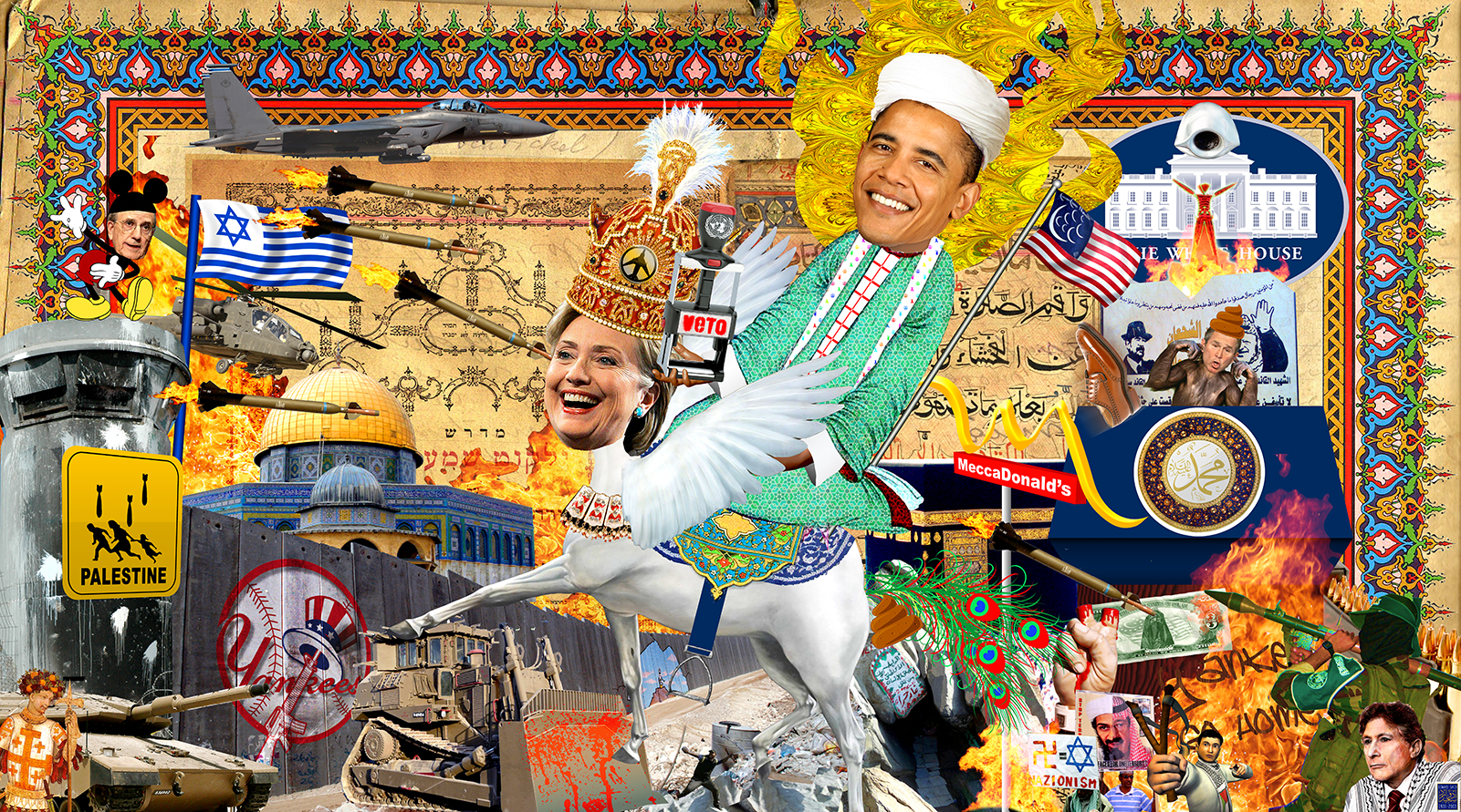 A political collage of Barak Obama as Mohammad riding a pegasus with the head of Hilary Clinton.