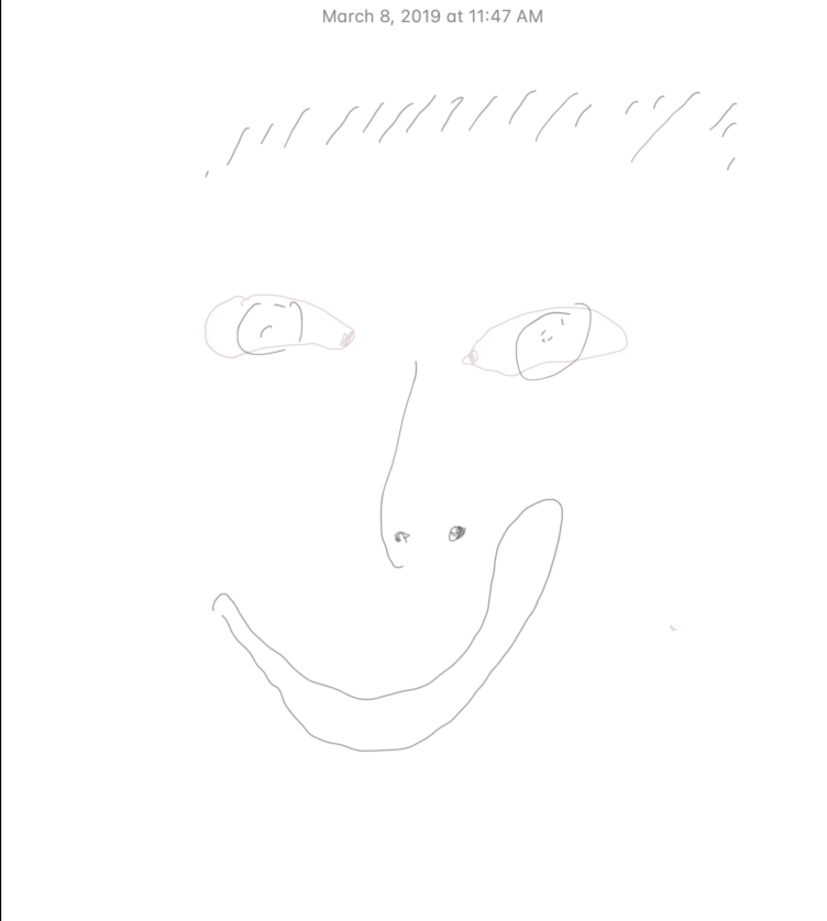 """A line drawing of a human face on a white background. Above the face there is the date of creation, reading """"March 8, 2019 at 11:47 am."""""""