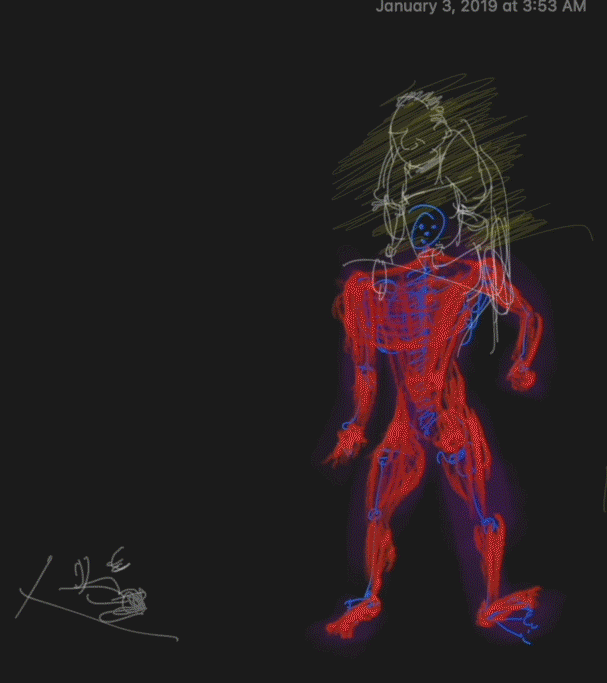"""There is a red and blue muscular line drawing of a figure with a white and yellow figure floating above set against a black background. There is a date in the top right corner which reads """"January 3, 2019 at 3:53 am."""""""