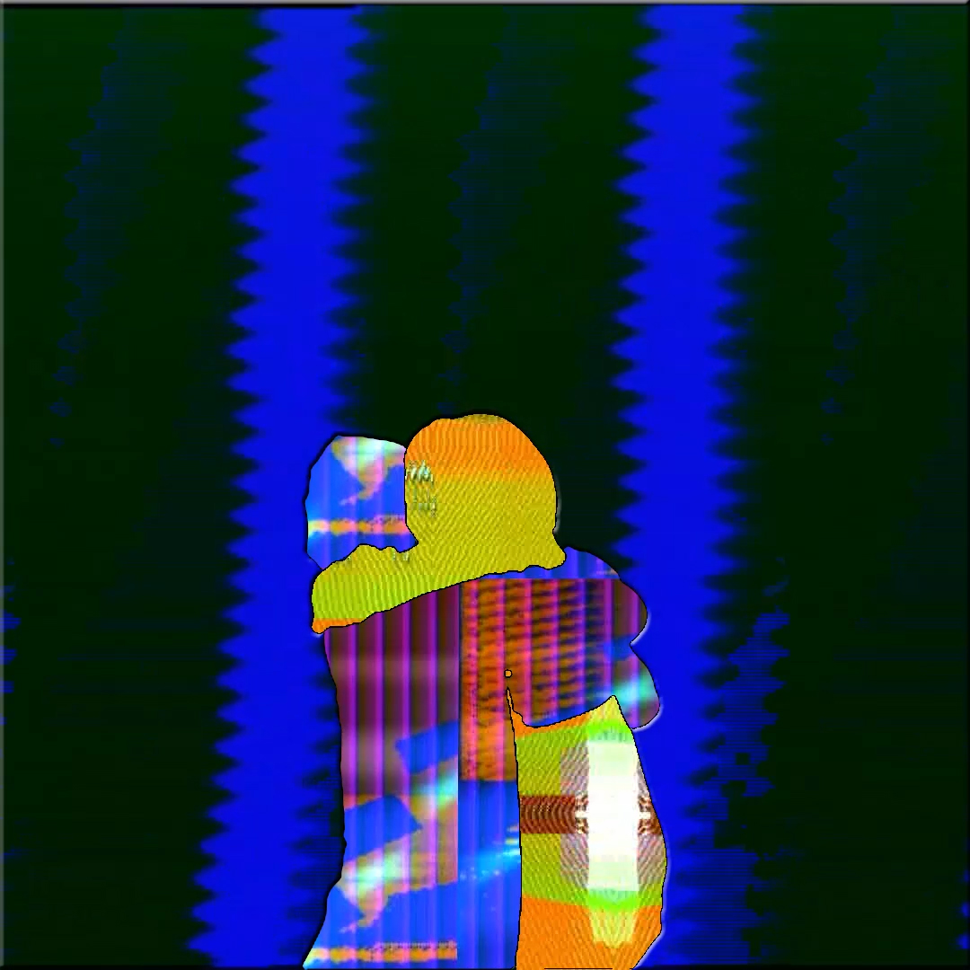 Two colorful figures embrace before black and blue striped background.
