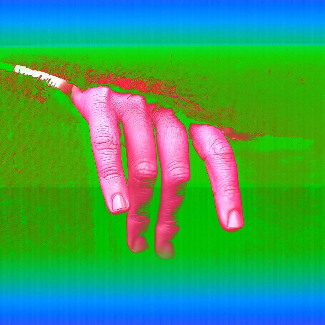 A neon pink hand breaks through the neon green background of the image.