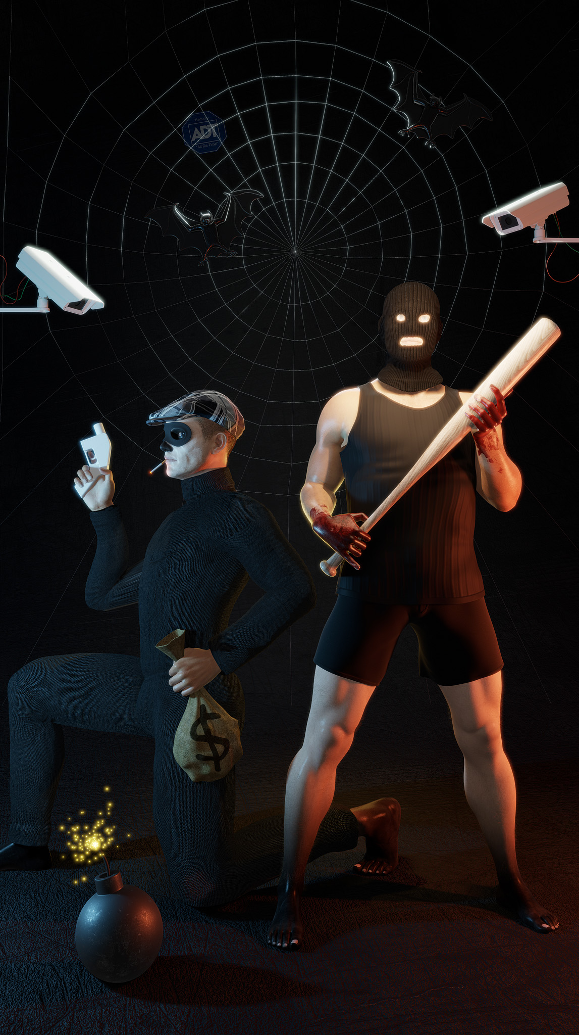 One man standing with a baseball bat and ski mask next to another kneeling man in a newsboy hat, mask, and black turtleneck, holding a bag of money. Security cameras from either side film them both.