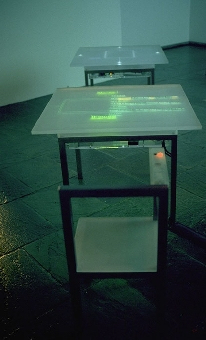 Cart with a lit up screen on top.