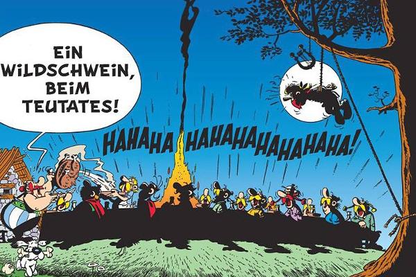 asterix friede freude wildschwein bankett