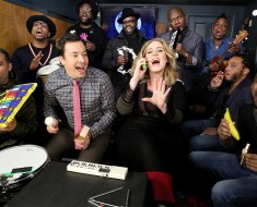"Adele and Jimmy Fallon Amazing Classroom Instruments Rendition of ""Hello"" with The Roots"