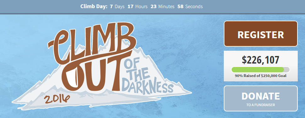 One Week Until Climb Out of the Darkness #ClimbOut