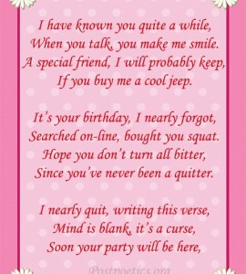 happy birthday funny poems for friends
