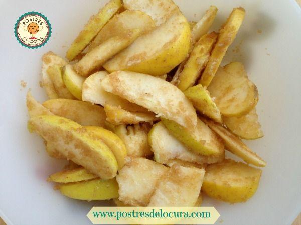 Gajos de manzana con azucar
