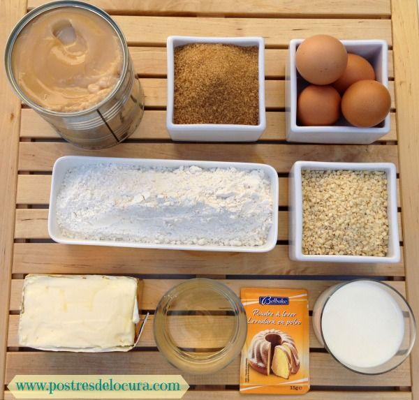 Ingredientes bundtcake de almendra y dulce de leche
