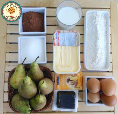 Ingredientes bizcocho de chocolate y pera