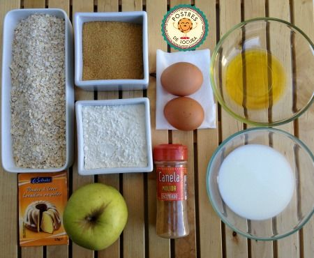 ingredientes galletas de avena y manzana