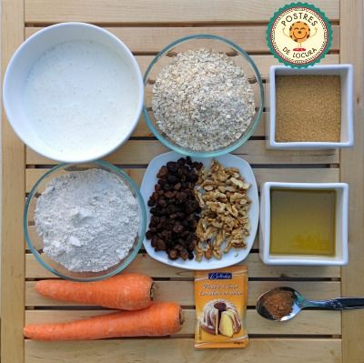 Ingredientes muffins de avena y zanahoria