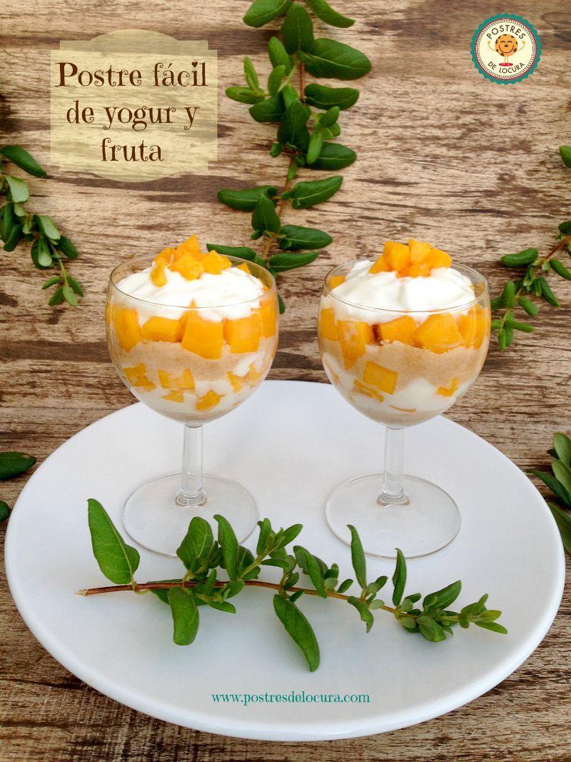 Postre facil de yogur y mango