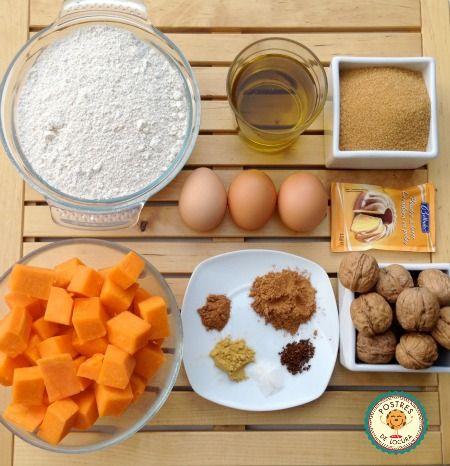 Ingredientes bizcocho especiado de calabaza y nueces