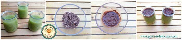Preparacion Frankestein de gelatina de kiwi y chocolate