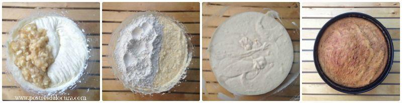 Preparacion bizcocho de platano con cobertura de queso crema