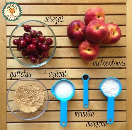 Ingredientes relleno galette de melocoton y cerezas