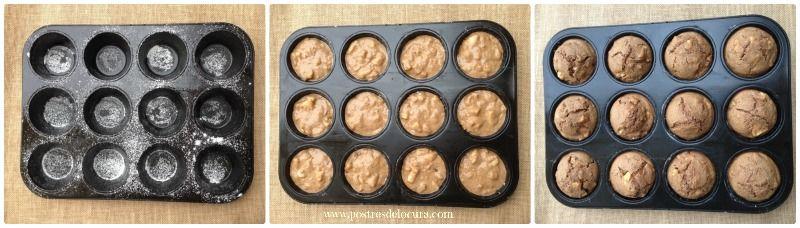 Muffins de manzana, pasas y nueces horneados