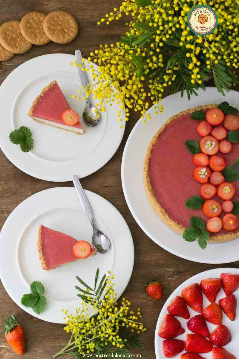 Tarta de panna cotta y fresas