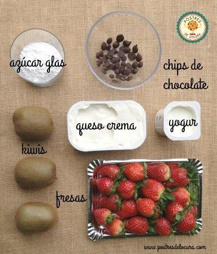 Ingredientes cobertura pizza dulce de galleta y fruta