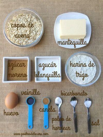 Ingredientes galletas de avena finas y crujientes